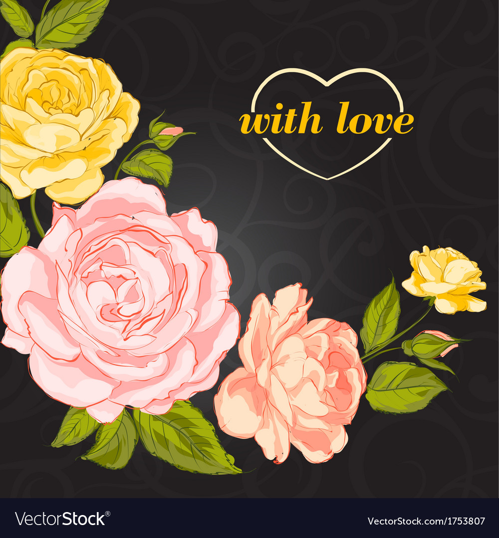 Invitation with roses vector | Price: 1 Credit (USD $1)