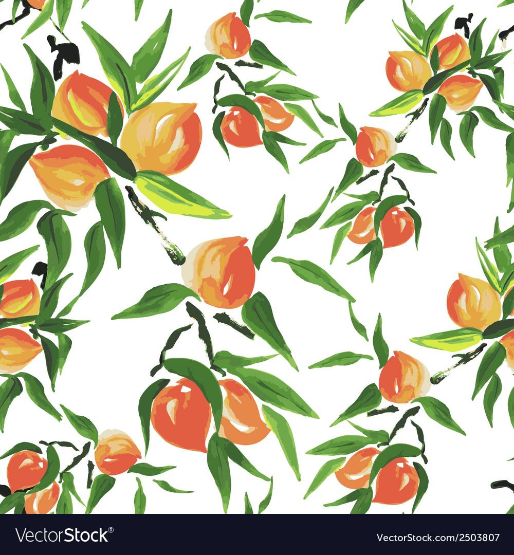 Peach seamless pattern vector
