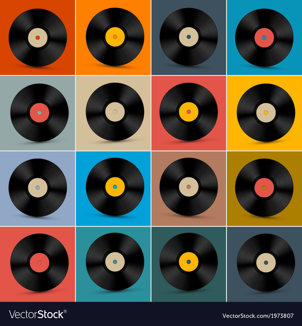 Retro vintage vinyl record disc set on colorful vector | Price: 1 Credit (USD $1)