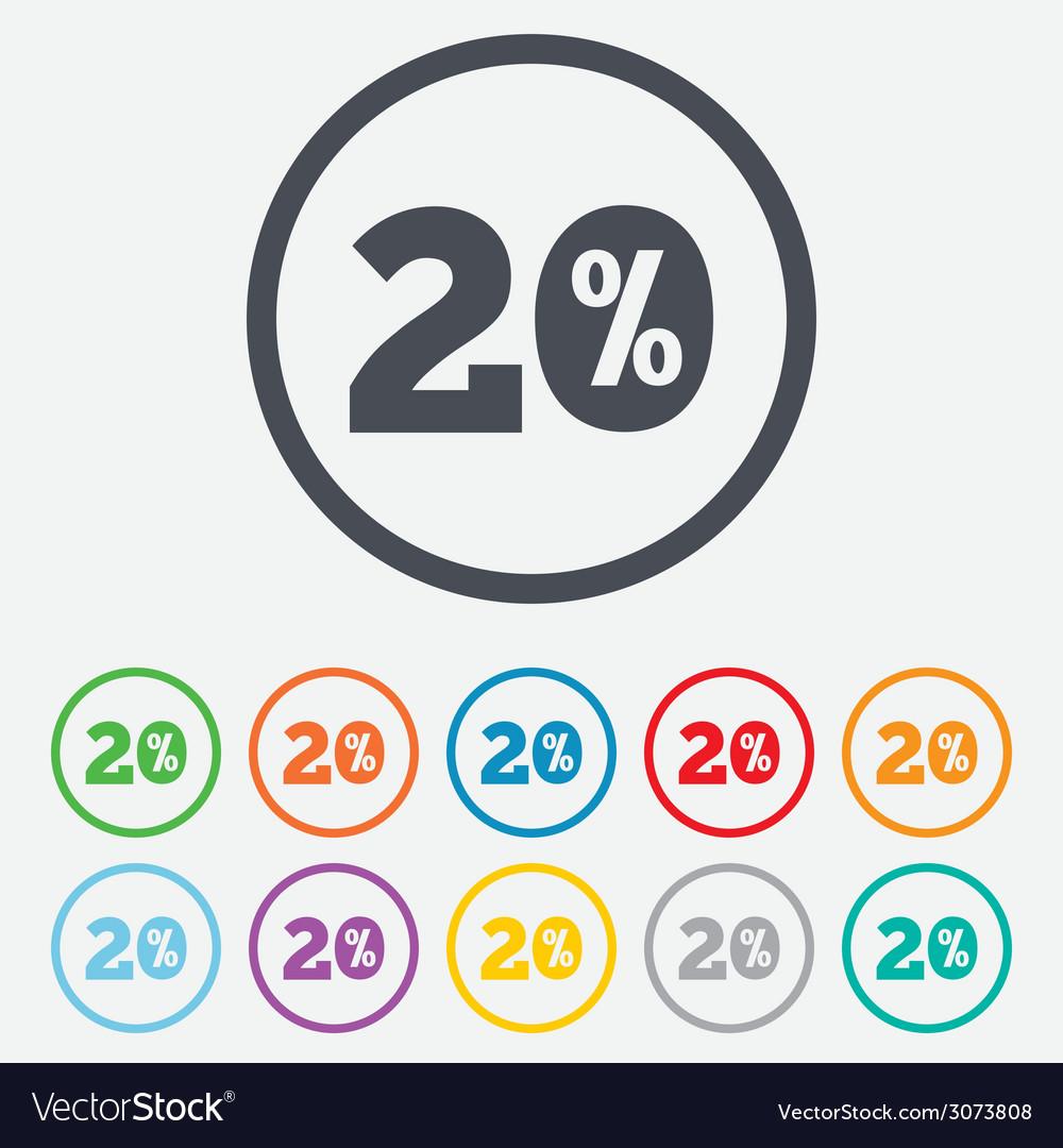20 percent discount sign icon sale symbol vector | Price: 1 Credit (USD $1)