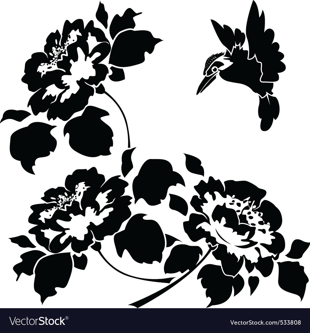 Asian wallpaper with flowers and birds seamless vector | Price: 1 Credit (USD $1)
