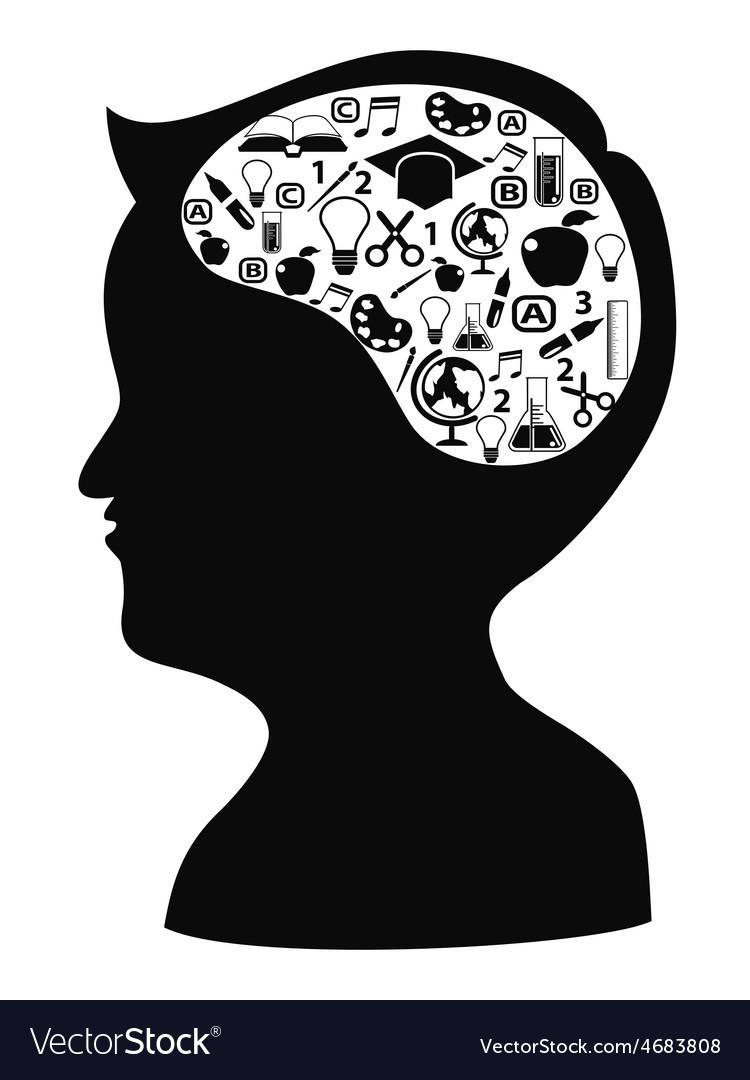 Boy head shape with creative idea icons vector | Price: 1 Credit (USD $1)