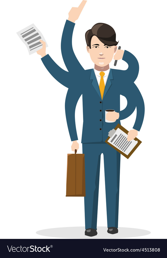 Businessman with many hands isolated concept vector | Price: 1 Credit (USD $1)
