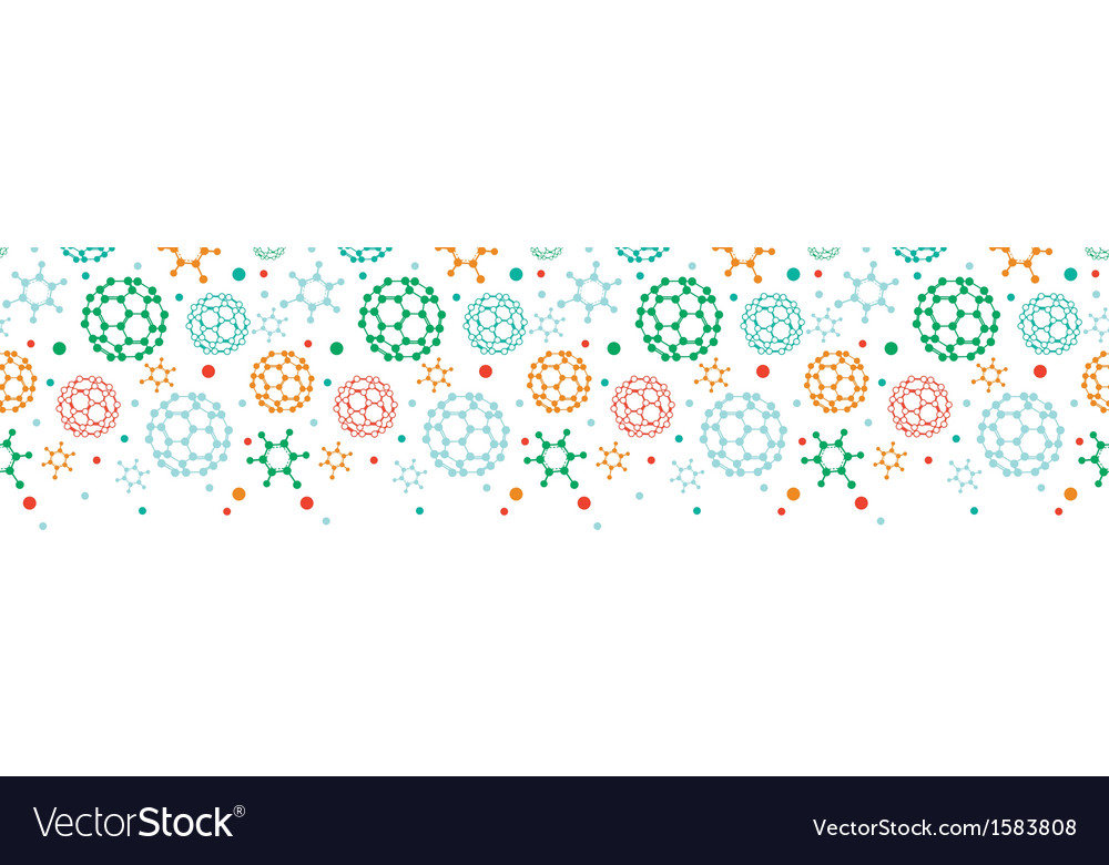 Colorful molecules horizontal seamless pattern vector | Price: 1 Credit (USD $1)