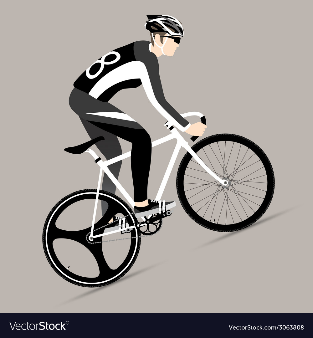 Cyclists and fixed gear bicycle vector | Price: 1 Credit (USD $1)