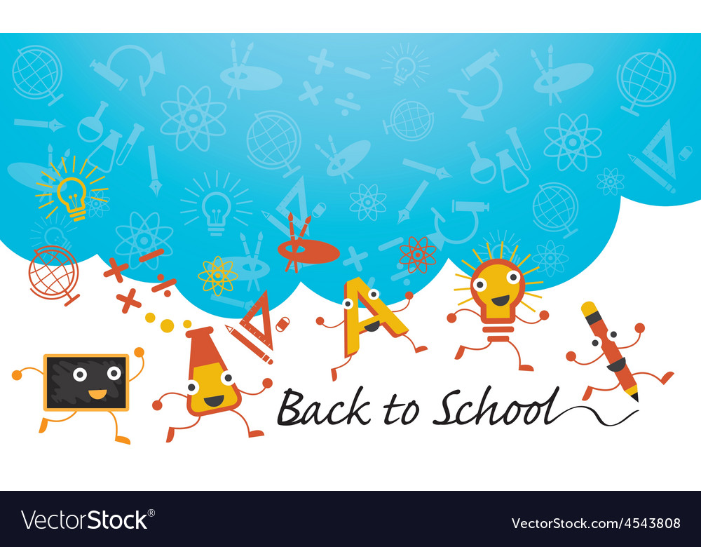 Education characters run back to school background vector | Price: 1 Credit (USD $1)