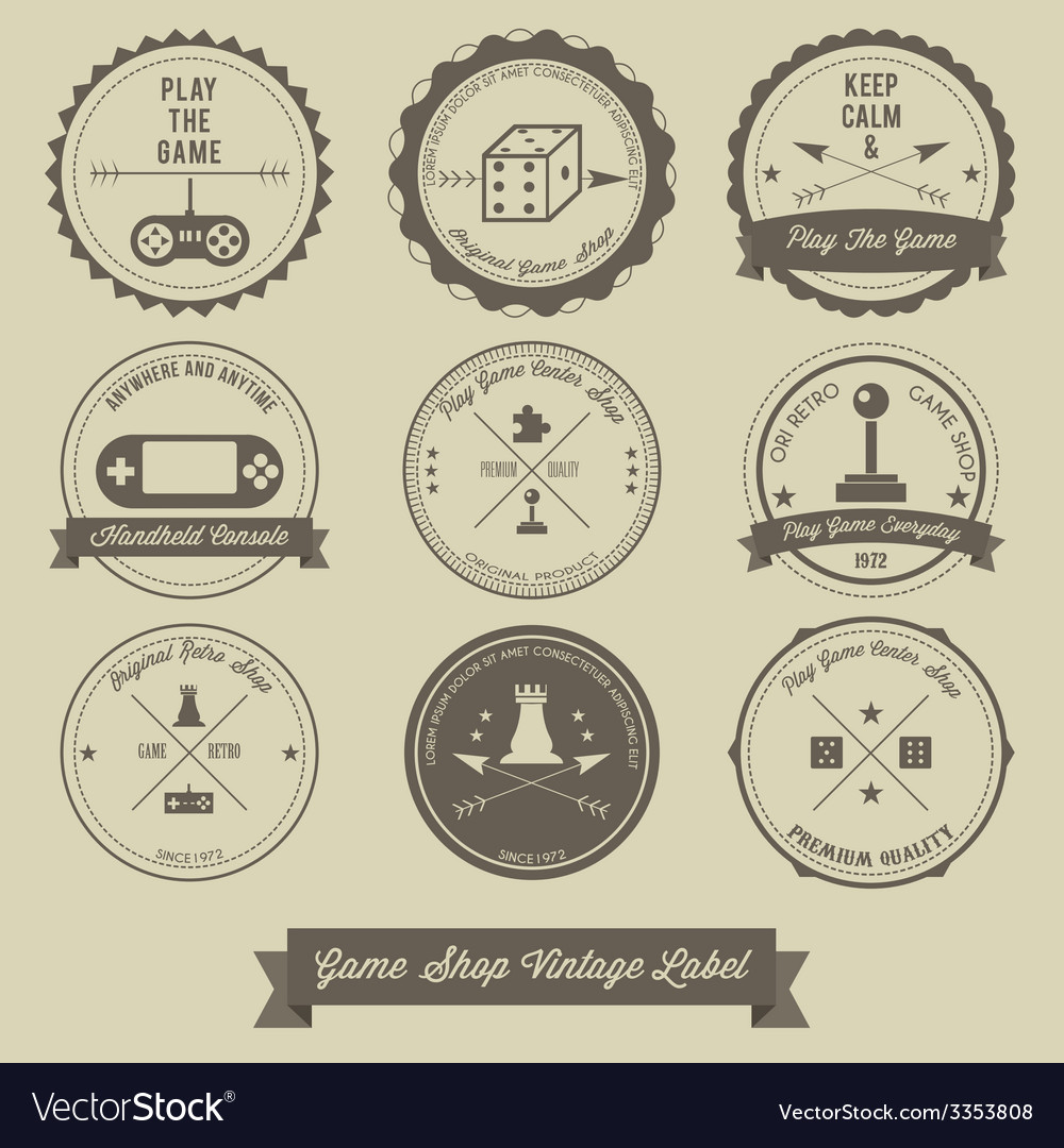 Game shop vintage label design vector | Price: 1 Credit (USD $1)