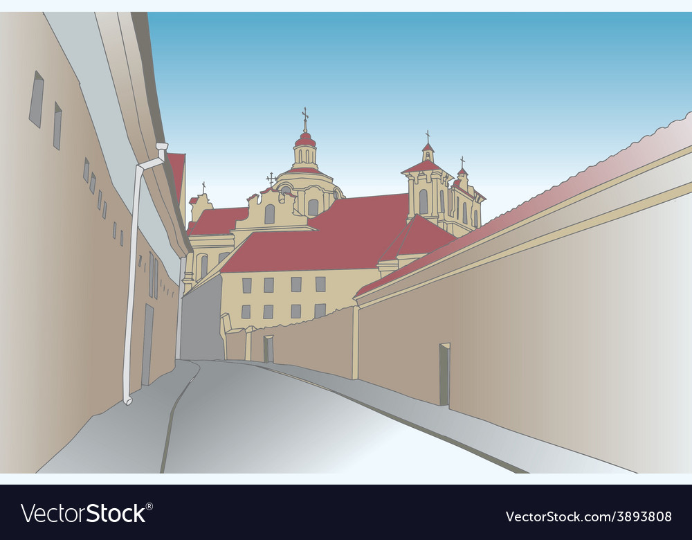 Old town scene with catholic church vector | Price: 1 Credit (USD $1)