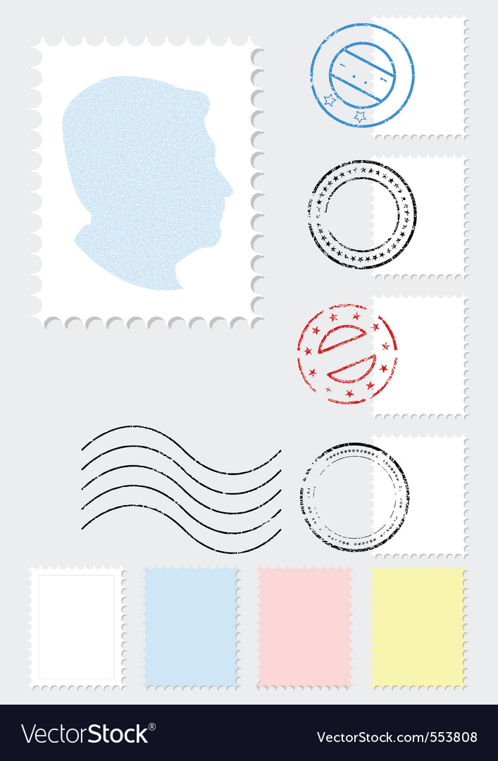 Postage stamp set vector | Price: 1 Credit (USD $1)