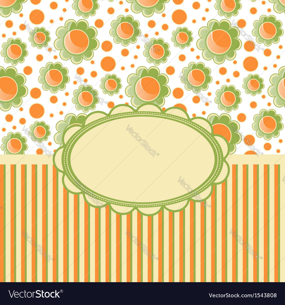 Retro design template with flovers vector | Price: 1 Credit (USD $1)
