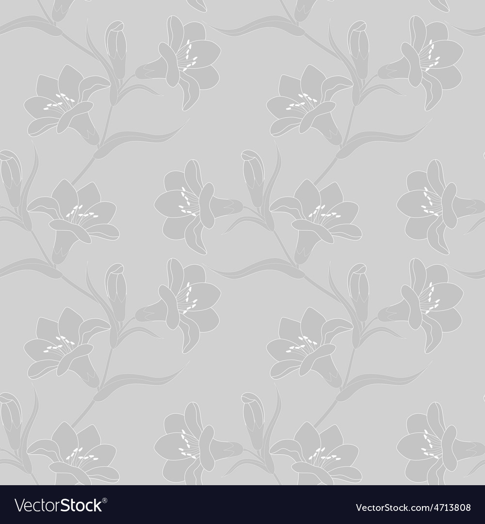 Seamless pattern with white lily flowers vector | Price: 1 Credit (USD $1)