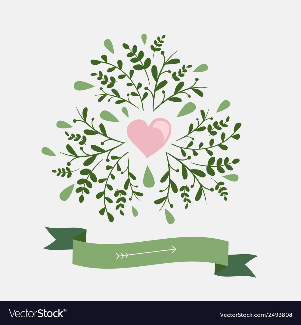 Set of vintage flowers and ribbon vector | Price: 1 Credit (USD $1)