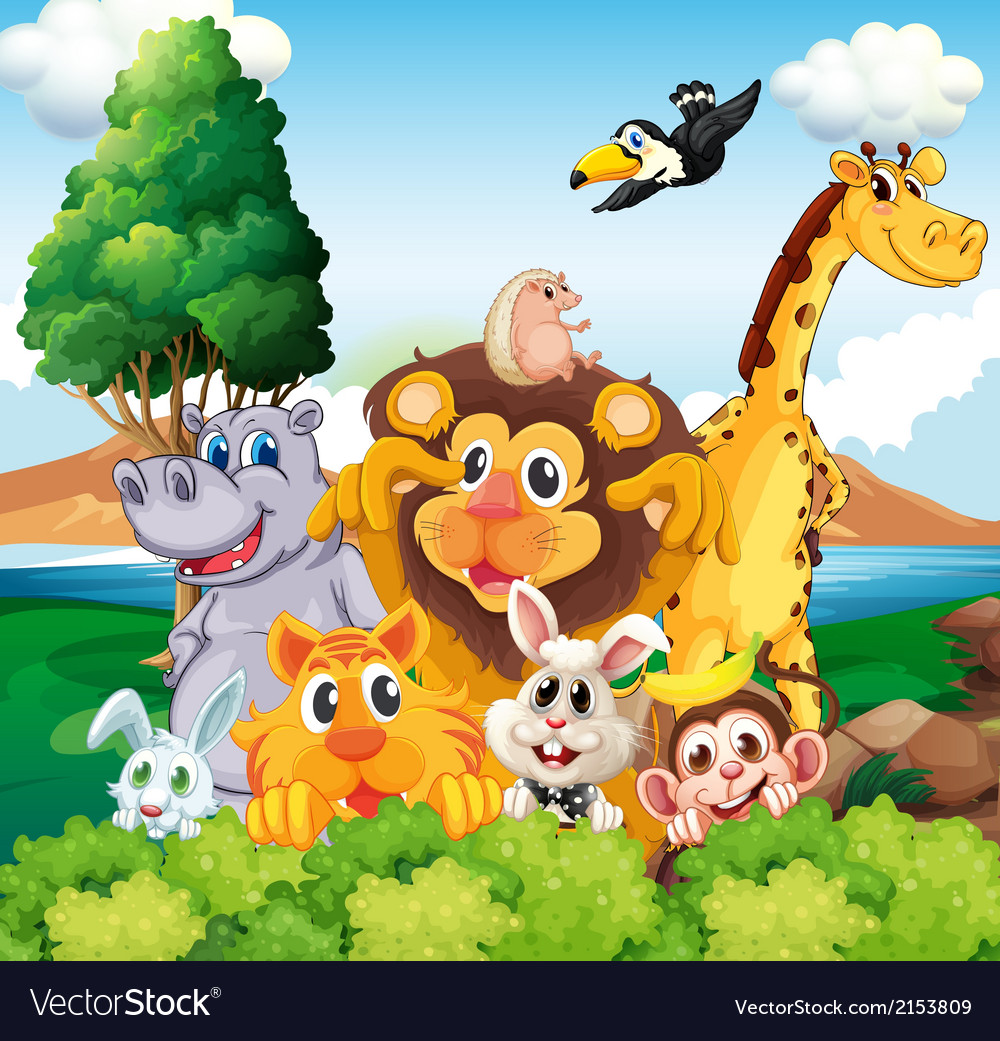 A group of animals near the river vector   Price: 3 Credit (USD $3)