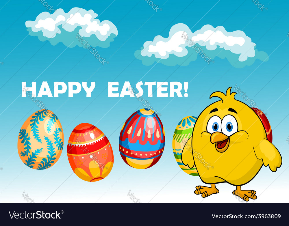 Happy chick in an easter card design vector | Price: 1 Credit (USD $1)