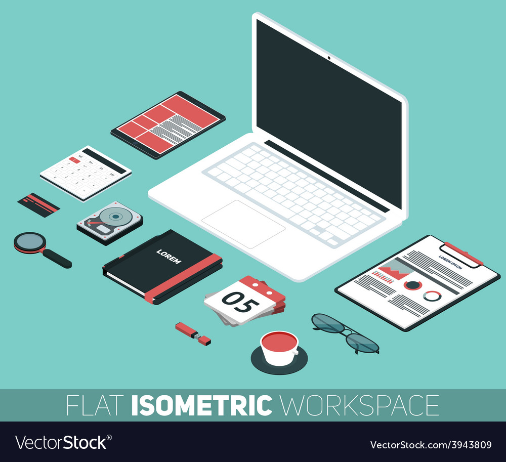 Modern flat isometric design of office works vector | Price: 1 Credit (USD $1)