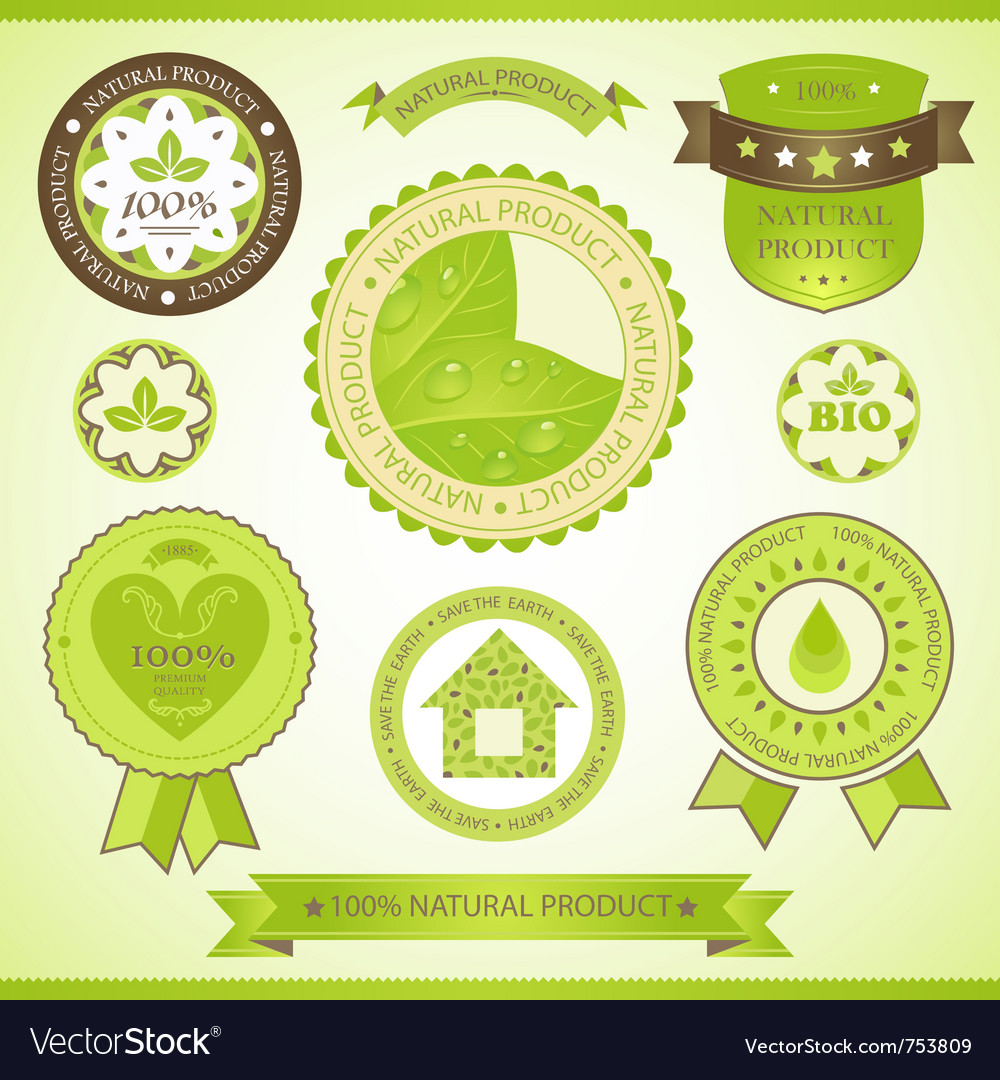 Natural product labels set vector | Price: 3 Credit (USD $3)