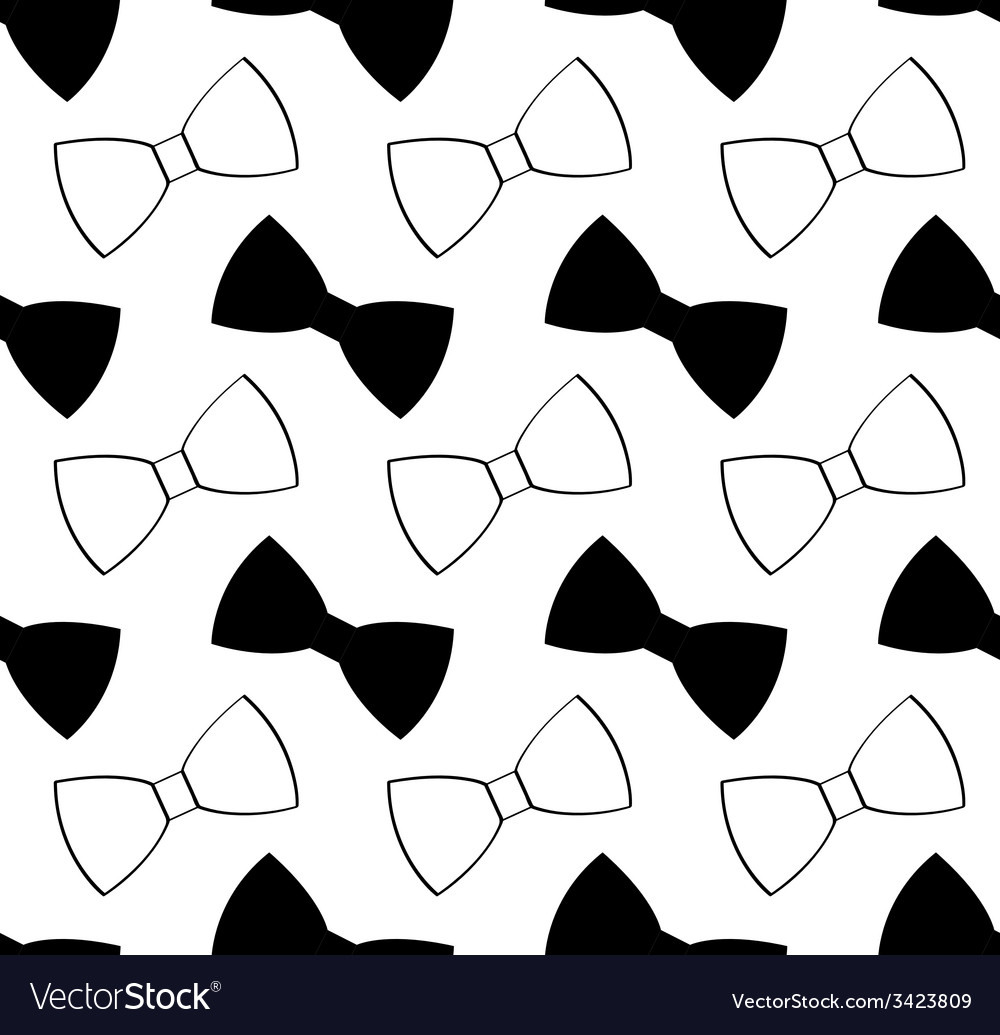 Seamless black and white bow tie pattern vector | Price: 1 Credit (USD $1)