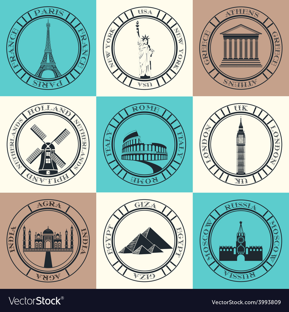 Set of icons travel and sightseeing vector | Price: 1 Credit (USD $1)