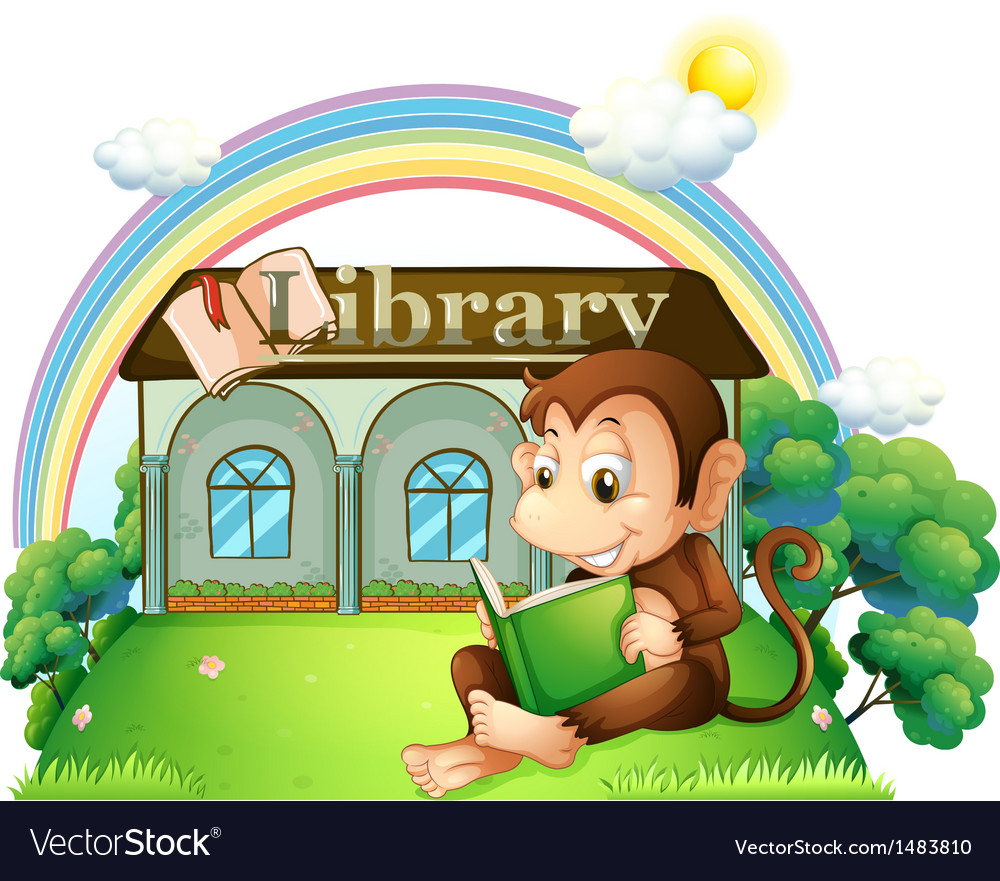 A monkey reading a book outside the library vector | Price: 1 Credit (USD $1)