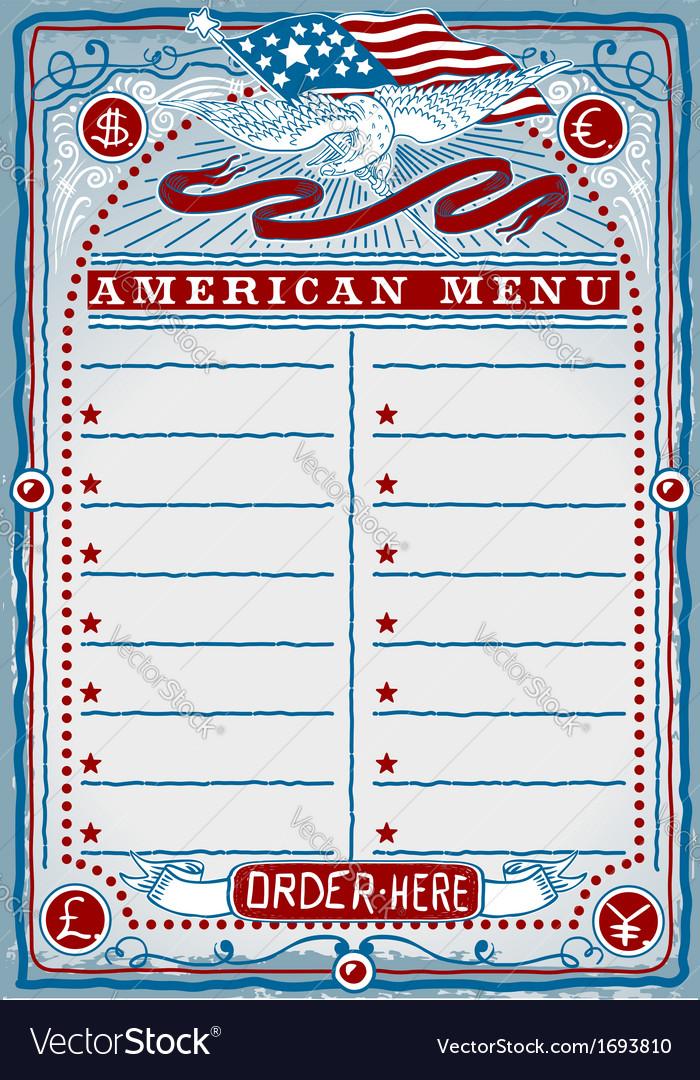 American restaurant menu vector | Price: 1 Credit (USD $1)