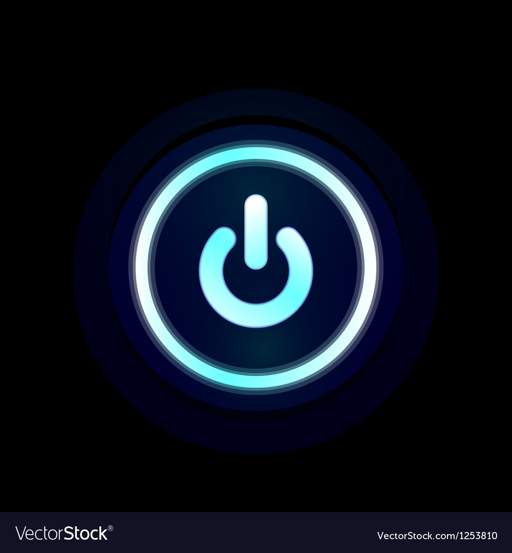 Blue led power button design vector | Price: 1 Credit (USD $1)