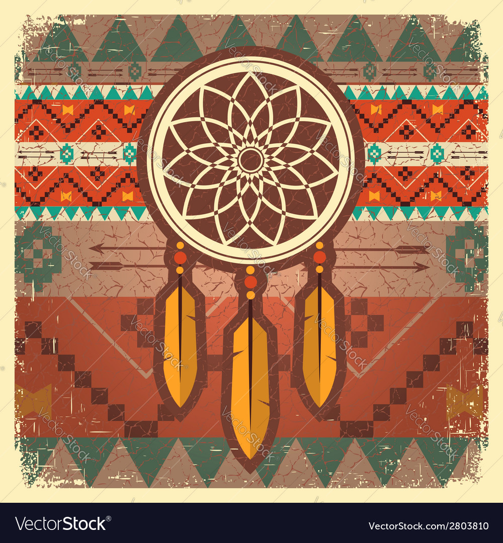 Dream catcher poster with ethnic ornament vector | Price: 1 Credit (USD $1)