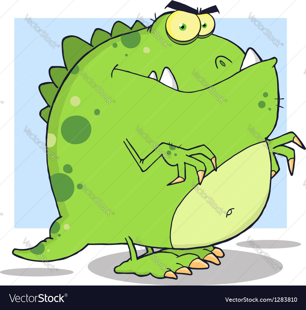 Green dinosaur cartoon character vector | Price: 1 Credit (USD $1)
