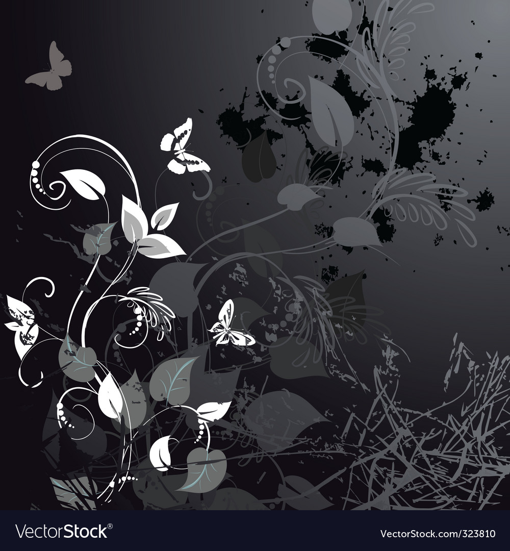 Grunge floral design with butterflies vector | Price: 1 Credit (USD $1)