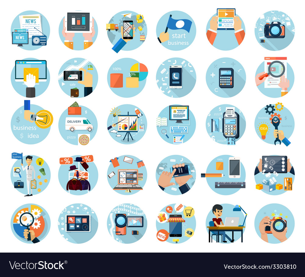 Icons set for business presenteshion vector | Price: 1 Credit (USD $1)