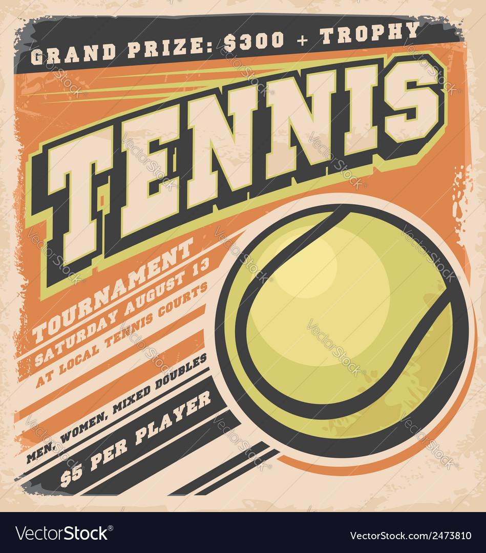 Retro poster design for tennis tournament vector | Price: 3 Credit (USD $3)