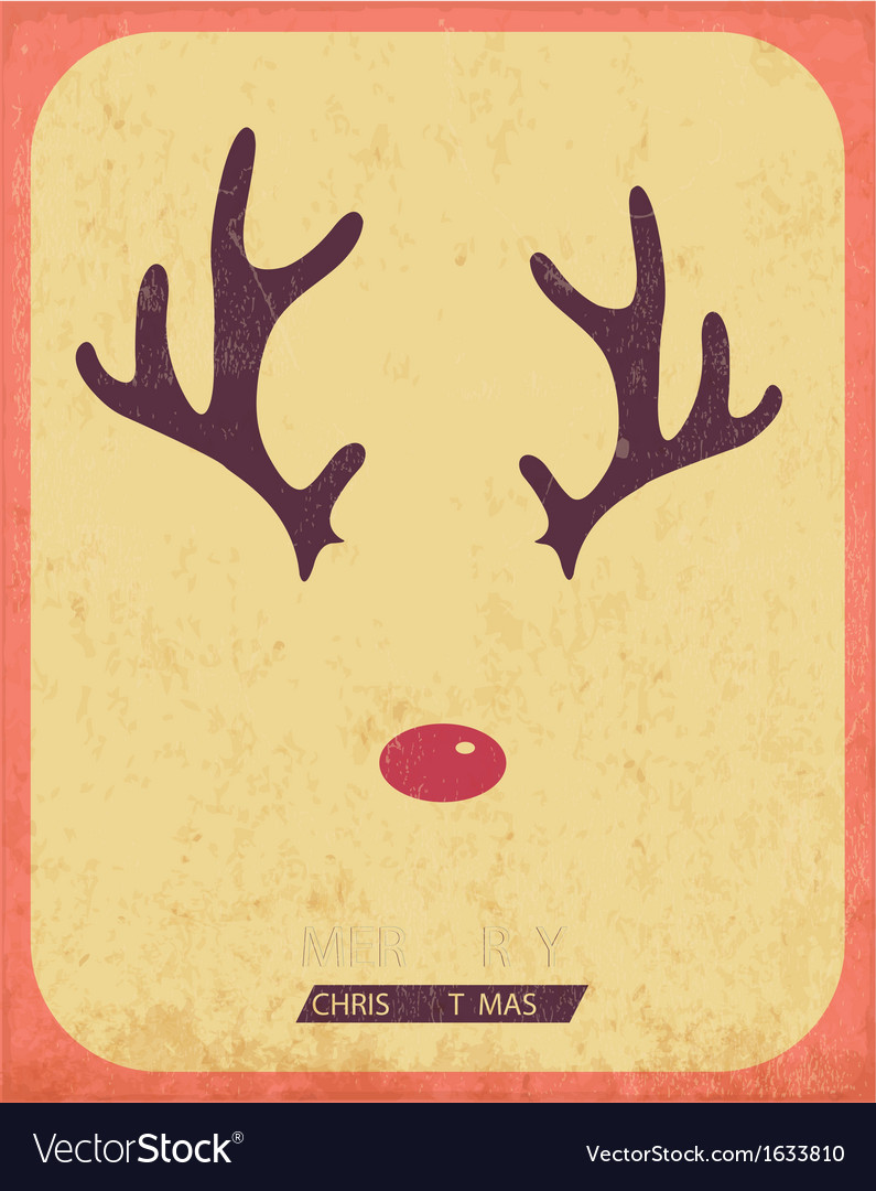 Retro vintage minimal merry christmas background vector | Price: 1 Credit (USD $1)