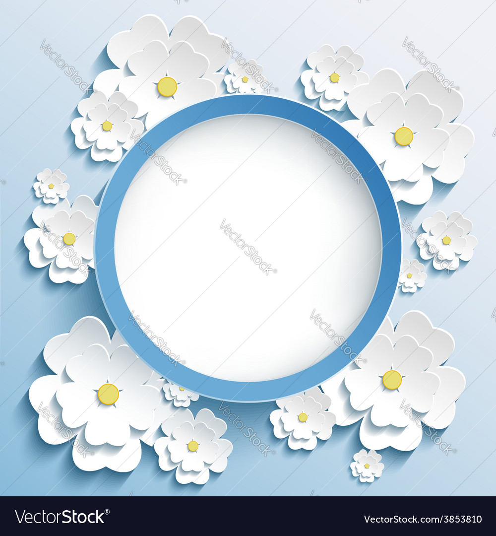 Round frame with 3d sakura invitation or greeting vector | Price: 1 Credit (USD $1)