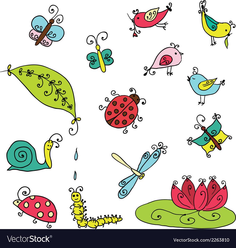Set of funny cartoon insects isolated vector | Price: 1 Credit (USD $1)