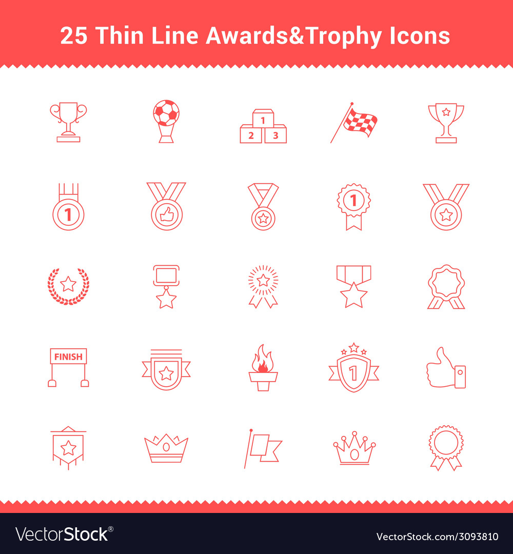 Set of thin line stroke awards and trophy icons vector | Price: 1 Credit (USD $1)