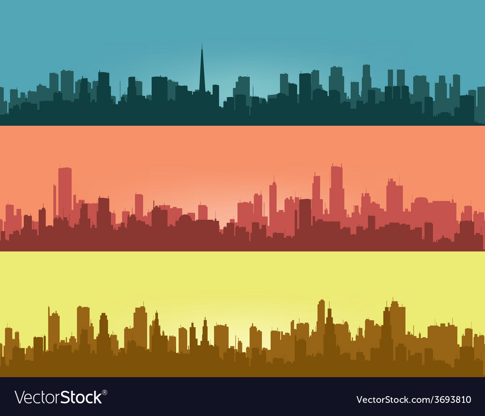 Three coloured contours of city vector | Price: 1 Credit (USD $1)