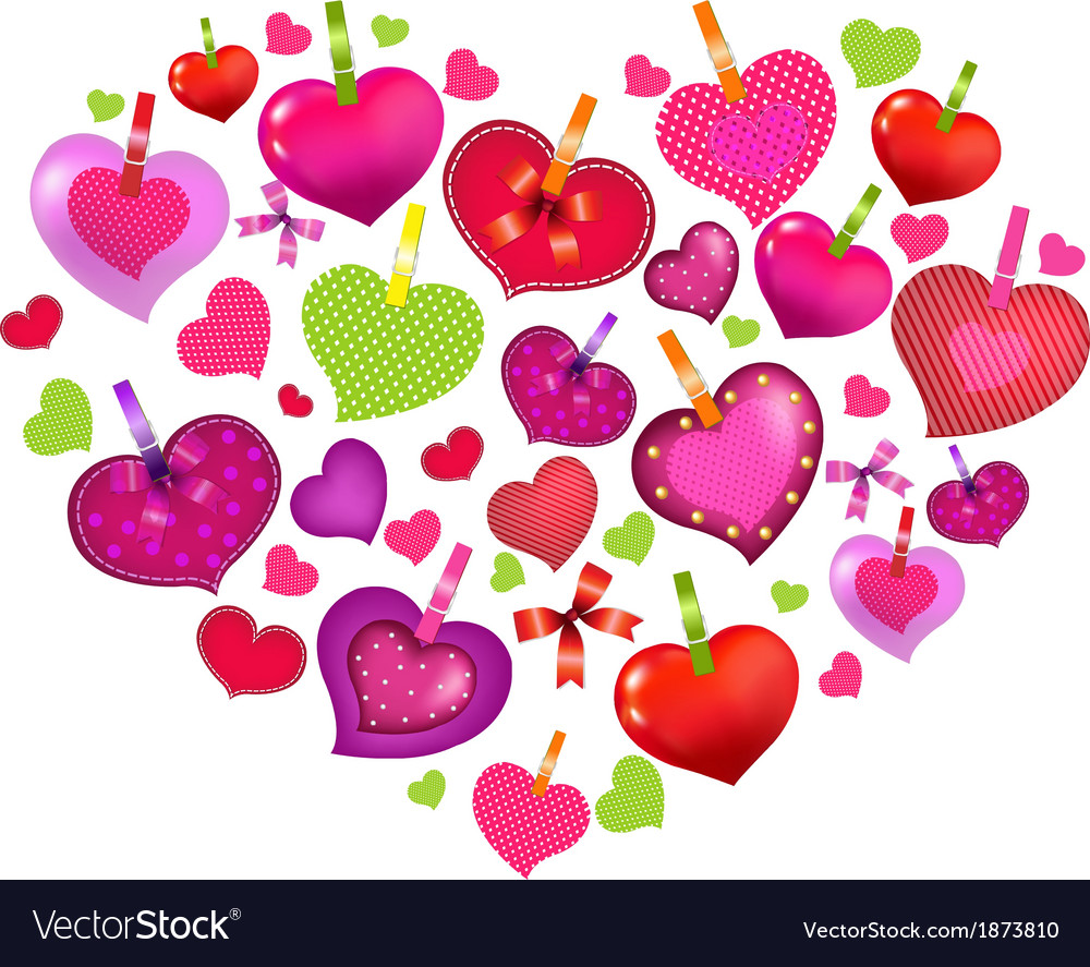 Valentines day card with colorful hearts vector | Price: 1 Credit (USD $1)