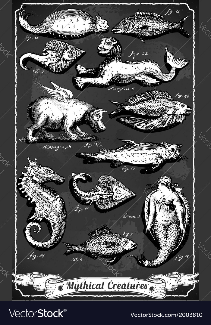 Vintage set of mythical creatures on blackboard vector | Price: 1 Credit (USD $1)
