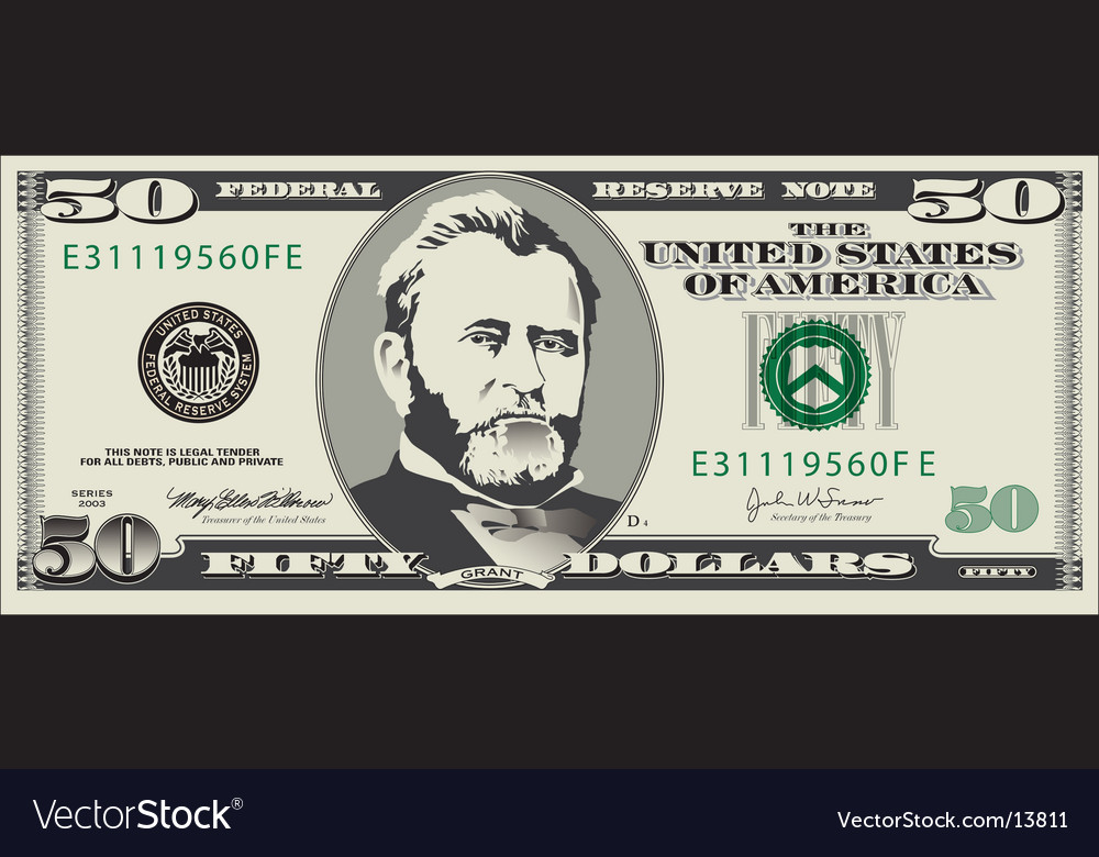 50 dollar bill vector | Price: 1 Credit (USD $1)