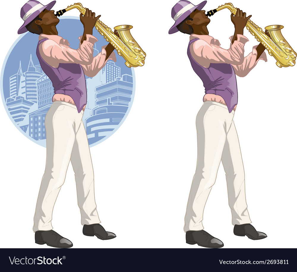 Afroamerican musician cartoon character vector | Price: 1 Credit (USD $1)