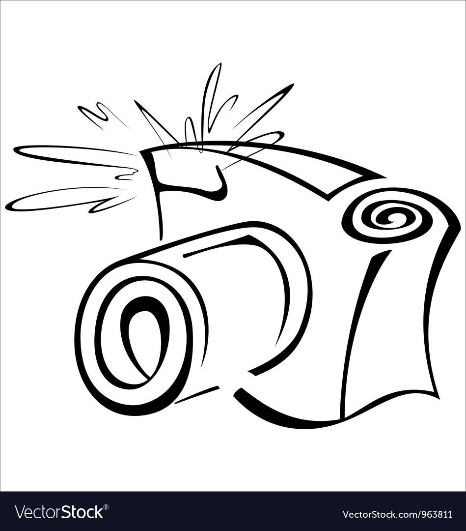 Black and white contour photo camera vector | Price: 1 Credit (USD $1)