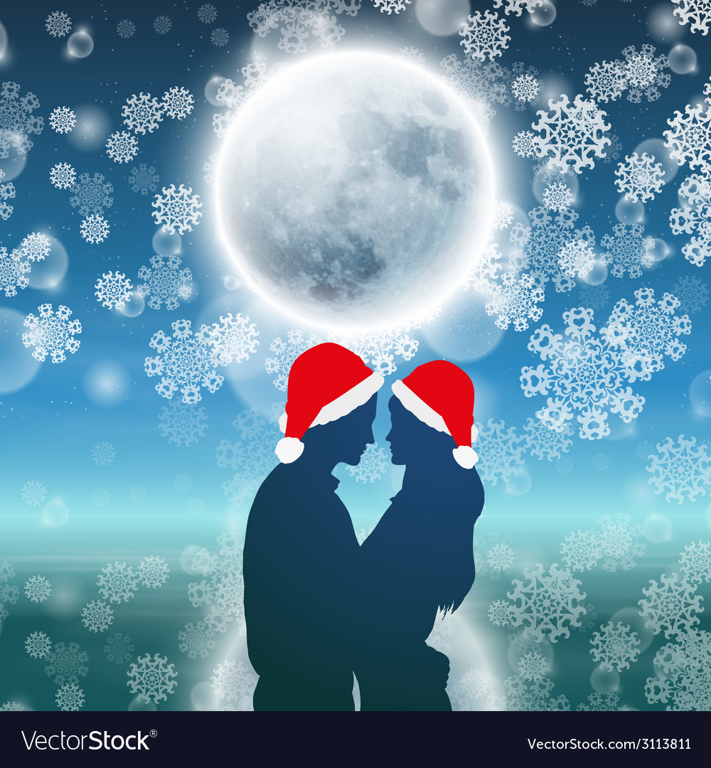 Couple over christmas background with moon vector | Price: 1 Credit (USD $1)