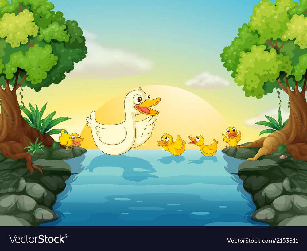 Ducks at the river vector   Price: 3 Credit (USD $3)