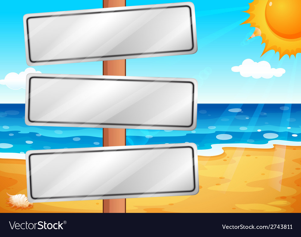 Empty signboards at the beach vector | Price: 3 Credit (USD $3)