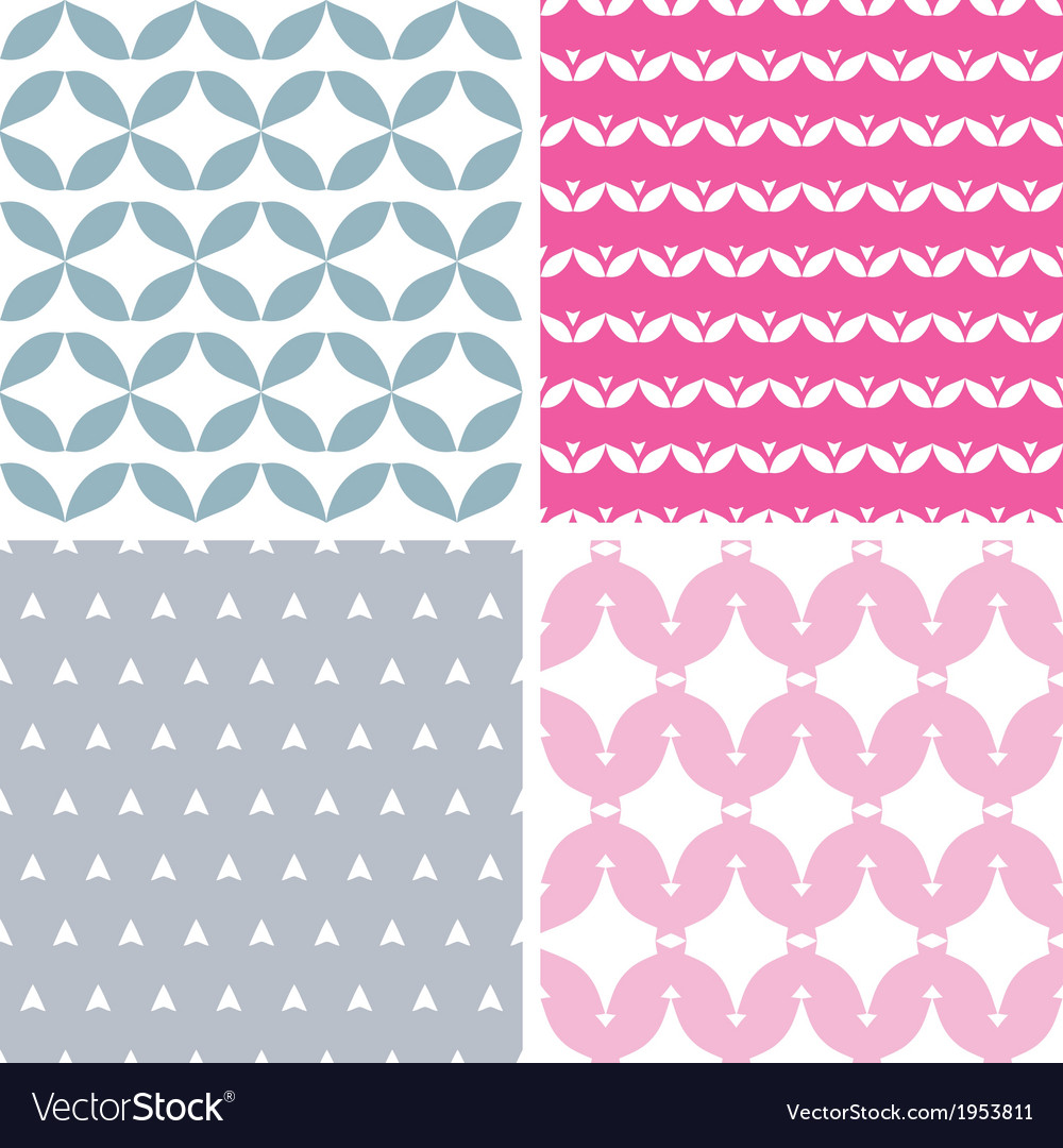 Four wavy pink and gray abstract geometric vector | Price: 1 Credit (USD $1)