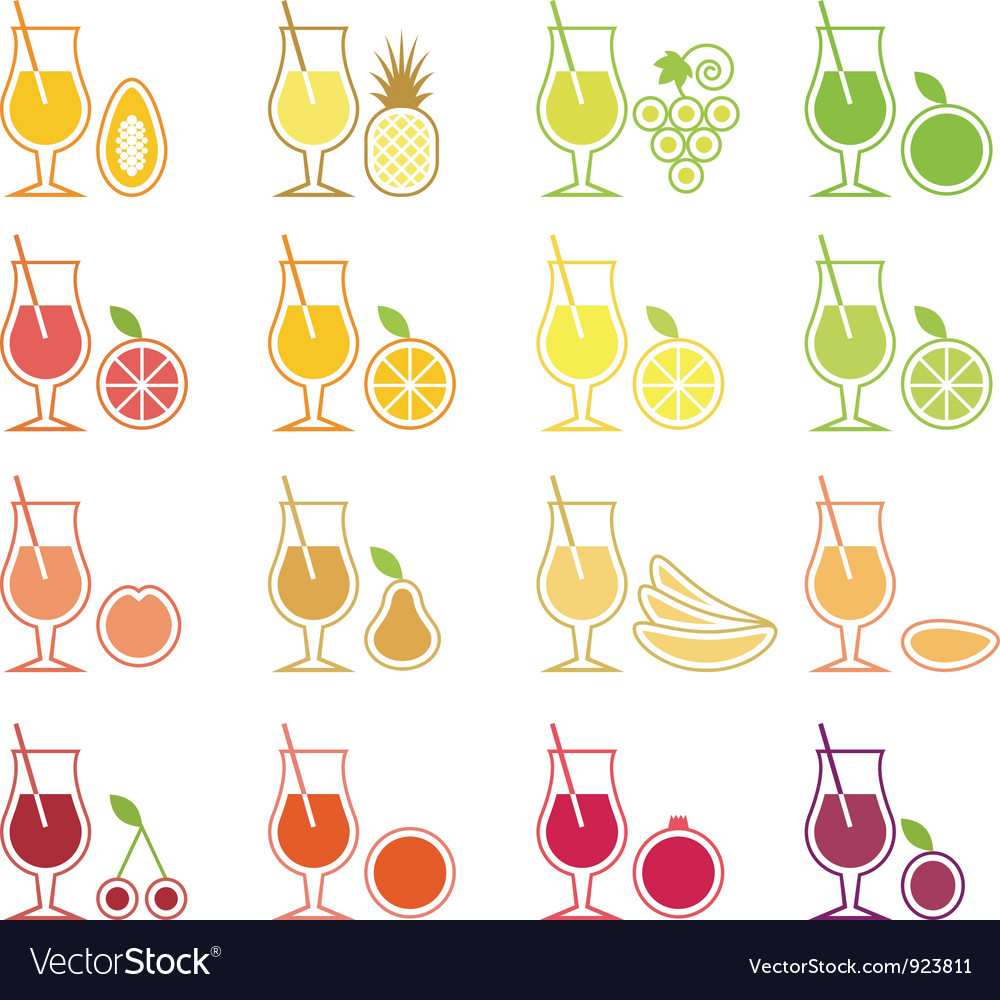 Fruit juice icon set vector | Price: 1 Credit (USD $1)