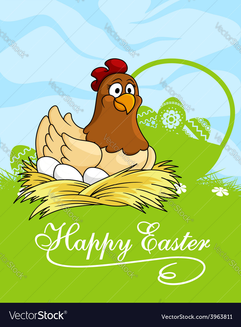Happy easter card design with a hen vector | Price: 1 Credit (USD $1)