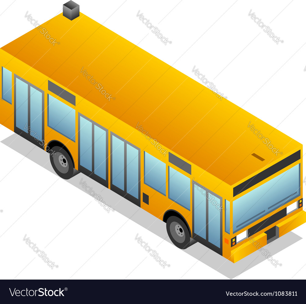 Isometric yellow bus vector | Price: 3 Credit (USD $3)