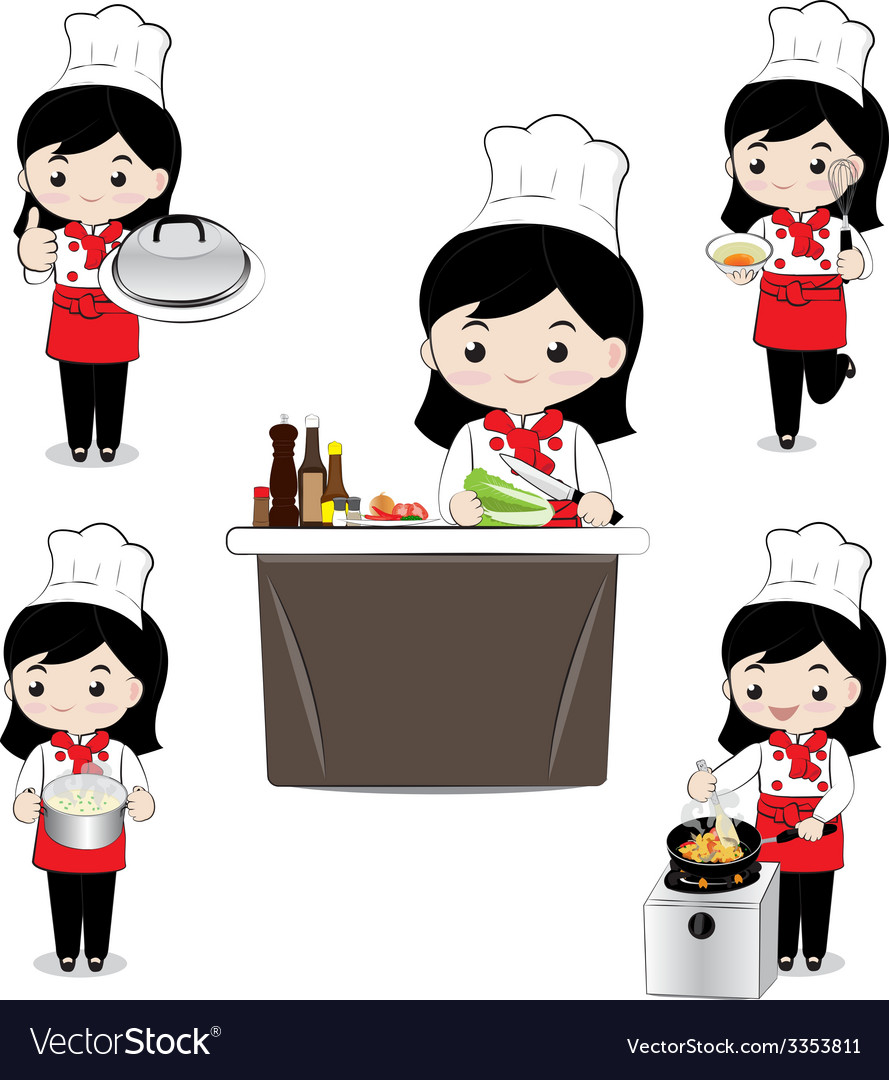 Little girl chef vector | Price: 1 Credit (USD $1)