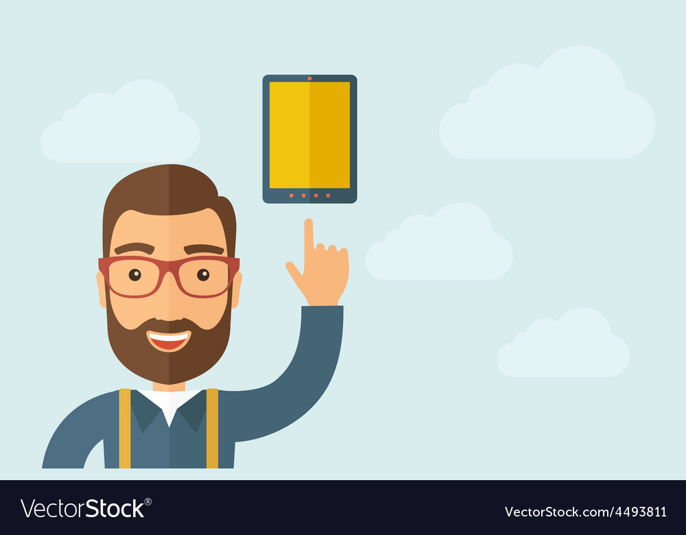 Man pointing the touch screen tablet icon vector | Price: 1 Credit (USD $1)