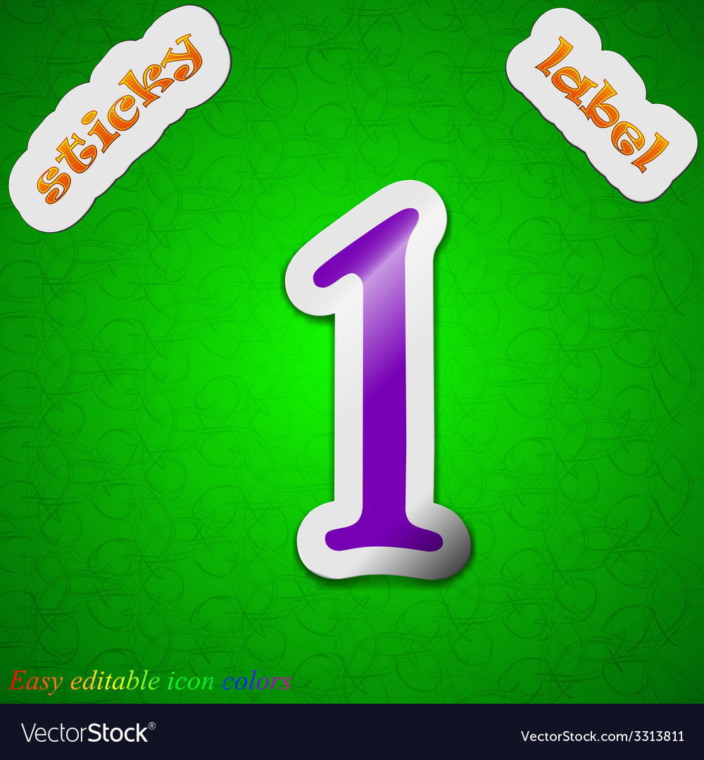 Number one icon sign symbol chic colored sticky vector | Price: 1 Credit (USD $1)
